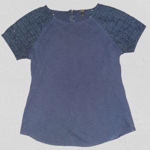J Crew Short Sleeve Top with Lace Detail